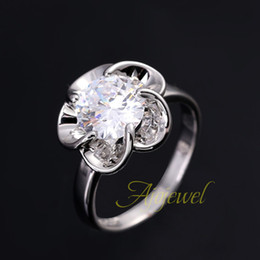 fg 2014 new elegant cute 18k white gold plated wedding band flower shape aaa zircon rings for women - Cute Wedding Rings
