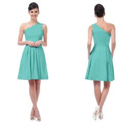 Discount One Shoulder Turquoise Short Dresses  2017 One Shoulder ...