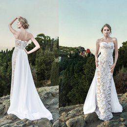 Wholesale 2014 Exquisite Sheath Lace Wedding Dresses Sweetheart Neckline Sleeveless Lace up Back Floor Length Bridal Gowns with Taffeta Train