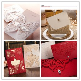 Wholesale 2015 A variety of styles Chic White Flower Cut out With Bow Free Personalized Customized Printing Wedding Invitations Cards