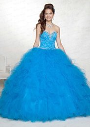 Wholesale Quinceanera Ball Gowns Blue Purple Sweetheart Crystal Sequins Lace Up Sweet Dresses Debutante Gowns