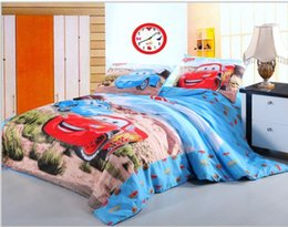 cartoon red blue car cotton bedding set duvets twin full queen size boys kids bedlinens bedroom sets with bed sheets comforter bedroom queen sets kids twin