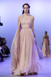Wholesale Evening Dresses Valentino Elie Saab Chiffon A Line Elegant Floor Length Sash High Neck Envelop Party Pageant Dresses Gown Formal Gowns