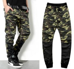 Wholesale New army fashion hanging crotch jogger pants patchwork harem pants men crotch big Camouflage pants trousers HOT