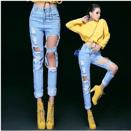 Wholesale 2015 Fashion High Waist Destroyed Ripped Motorcycle Pants Distressed Denim Crop Wornout Jeans DH04