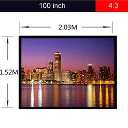 -Excelvan gros écran de projection portable 100''4: Écran de projection 3 Tissu Matte White Écran de projection PVC Projecteur Matériau