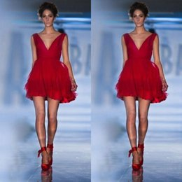 Wholesale 2015 Mini Red Party Dresses Women Dresses Deep V neck A line Custom Made Short Cheap Cocktail Dresses Backless Sexy Prom Dresses Hot Sale