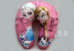 Wholesale 30 cm SALE Kids Foam Particles Frozen Pillows Snow Queen U shape Pillows Elsa Anna Throw Pillow Children Neck Pillow Gift For A014