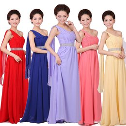 Wholesale 2015 women bridesmaid one shoulder wedding long prom maxi gown chiffon party formal evening ruched lilac red dress plus size under