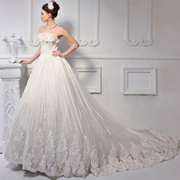 Wholesale In Stock Luxury Strapless Handmade Beads Luxury Flower Wedding Dress A line Bridal Gown