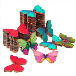 Wholesale 100pcs bag HOLES BUTTERFLY SHAPE WOOD SEWING SCRAPBOOKING CRAFT DIY BUTTONS