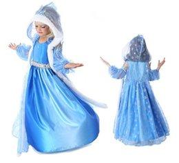 Wholesale Costumes de Noël Costumes de Frozen Elsa Anna Robe bébé Cape Costumes enfants Manches longues capuche Gauze princesse Costume cadeau enfants Costumes H