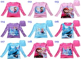 Wholesale 2015 Girls Frozen Princess Tshirts Anna and Elsa Cartoon Tops Tees Kids Children Long sleeved T Shirts colors