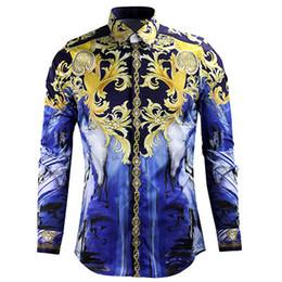 Wholesale 2016 new Designer Men Casual Long Sleeve Shirts Men Shirt Men Slim Fitness Male Cotton Floral Shirt Big Size Men Shirt