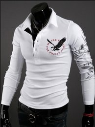 Wholesale FG1509 Men eagle tattoo printing tops cultivating long sleeved turn down collar POLO shirt plus size M XXL