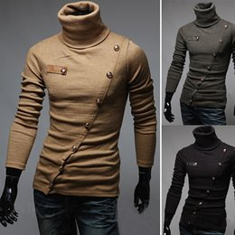 Wholesale new Men Autumn and winter turtleneck Collar sweater Oblique buttons Fashion sweater