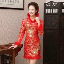 Wholesale Fashion New Toast clothing Bride Cheongsam Dress Formal dress Long Sleeve Red Vintage fashion Autumn and Winter Stand Collar Good Quality