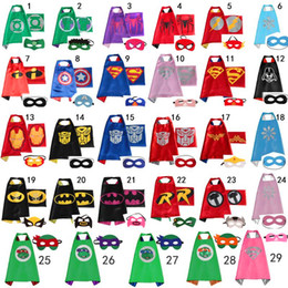 Wholesale Reversible kids Superhero Cape super hero cape with mask Superman Cape mask set Batman Captain American cape styles CM In stock