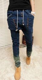 male HIPHOP Low Drop crotch pants men denim Jeans hip hop sarouel men  jogger pants baggy