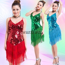 Wholesale Women s s Tassel Sequin Latin Tango Sala Fringe Dance Team Mini Fancy Flapper Dress Ballroom Clothing Wear V Neck Cheap