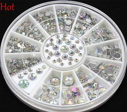 Wholesale Sizes Nail Art Tips Crystal Glitter Rhinest D Nail Art Decoration Beads Nail Decal Stickers Rhinestones Wheel Hot