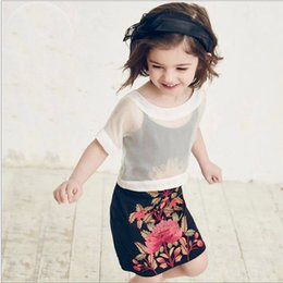 Wholesale 2016 Childrens Flower Embroidered FashionTwo Pieces Set Korean Style Girls Clothing Kids Short Sleeve T shirt And Sundress