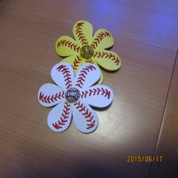 Wholesale 2015 Softball Flower Accessory and hair clip softball hair bows softball hairbow baseball hairbow