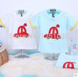 Wholesale Venta al por mayor de del verano del bebé salir tome la camiseta del bebé Las prendas frescas hombro coche puro algodón manga corta camiseta de envío gratuito