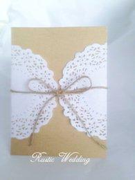 Wholesale Set of Black Burlap and lace invitation rustic wedding invitation kraft wedding invitation card