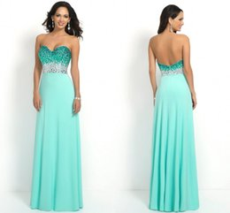 Wholesale Aqua Long Strapless Sweetheart Beaded Bodice Sleeveless Sparkling Prom Dress Backless Zipper Formal Dresses Party Evening Cheap Chiffon Gown