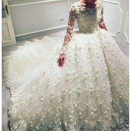Wholesale Luxury D Floral Appliqued Wedding Dresses With Long Sleeves Jewel Neckline Bridal Ball Gowns Court Train Tulle Beaded Wedding Dress