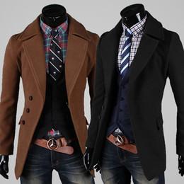 Wholesale Estilo luxuoso magro Casual Single Botão Brasão Jacket casaco Casacos frete grátis venda quente Trench Coats Masculina Moda de Nova