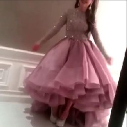 Wholesale 2015 Top New Amazing Myriam Fares Ball Gown Celebrity Dress Evening Prom Dress Long Sleeve Bead Hi Low Party Gown Special Occasion Dress