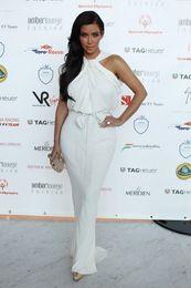 Wholesale Kim Kardashian Engagement Dresses High Collar Chiffon Mermaid Evening Gowns Celebrity Red Carpet Dress
