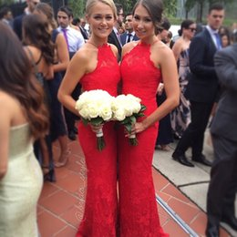 Wholesale 2015 Lace Bridesmaid Dresses Sweetheart Spaghetti Sheath Custom Made Long Red Plus Size Backless Prom Dresses Wedding Party Dresses