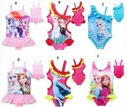 Wholesale Baby Frozen Swimwear Anna Elsa Swimsuit My Little Pony Girls Floral Swimsuits Dresses Bikini Girl Lace Cartoon One piece Swim Dress I2752