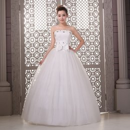 Wholesale In Stock Cheaper Wedding Dresses Luxury Tulle With Beadings Ball Gown Bride Dresses Special Occasion Stapless Women Bride Dresses