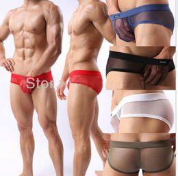 Wholesale big eye Net Gauze Mens Mesh Short man Mesh Soft Underwear See Through Lingerie Transparent briefs Comfy Bottoms