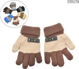Wholesale 2015 Winter Children Finger Gloves Girls Kids Letter Design Gloves Baby Warm Gloves Mix Color