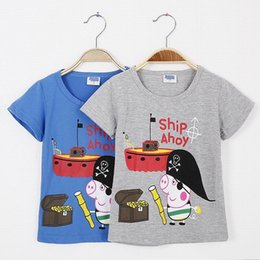 Wholesale New the lowest price Peppa pig t shirts for summer childen boys tops tee t shirts peppa clothing Years