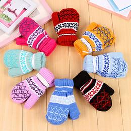 Wholesale Fashion Colourful Children s Kids Mittens Baby Girls Boys Gloves Thicken Warm Accessories Knitting Fur Kids Autumn Winter Knit Gloves A1554