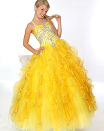 Wholesale Yellow Girls Long Pageant Dresses for Teens Organza Halter Beaded Cascading Ruffles Flower Girl Evening Bridesmaid Ball Gowns For Weddings