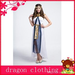 Wholesale Greek Goddess Theme Costume Halloween Masquerade Party Arab Girl Cosplay Suits Stage Performance Costume w White