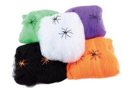 Web de aranha Interessante Multicolor Halloween Haunted House Prop Decoração Suprimentos Decorações algodão Aranha Stretchable Teia de Aranha