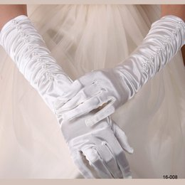 Wholesale In Stock Cheap White Ivory Full Finger Stretch Pearls Stain Wedding Bridal Gloves Wrist Length Gloves for Bride Free Size Ruffle