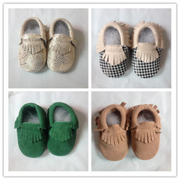 Wholesale 2015 New Baby Kids Suede Baby Moccasins Soft Moccs Baby Shoes Chaussure Bebe Infant Firstwalkers Anti Slip Baby Footwear