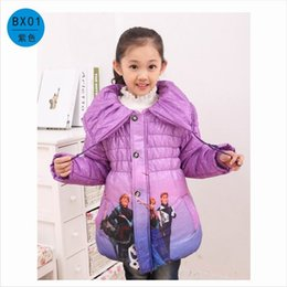 Wholesale 1pcs retails colors Frozen Cotton padded Clothes For Frozen Girls Parkas Coats Winter Thickening Outerwear Down Coat Year
