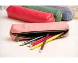 Wholesale Solid PU Pencil bag case Cosmetic Makeup Pouch Coin Purse Wallet Cute Stationary Case Storage Estojo Escolar