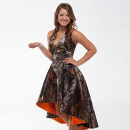 2016 High Low Realtree Camoflage Camo Bridesmaid Dresses Halter Neckline Plus Size Bride Maid of Honor Dress Orange Camo Wedding Party Gowns from low halter wedding dress manufacturers