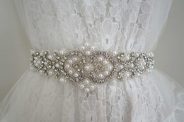 Wholesale 100 Handmade Crystal Pearl Bridal Wedding Dress Belt Ivory Satin Ribbon Waist Sash Plus Size Custom Make